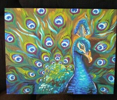 Handmade Painting, Peacock, Bird, 13 inches by 11 inches