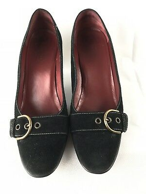 Coach Women's Shoe Classic Black Made In Italy Leather Low Heel Round Toe Size 9