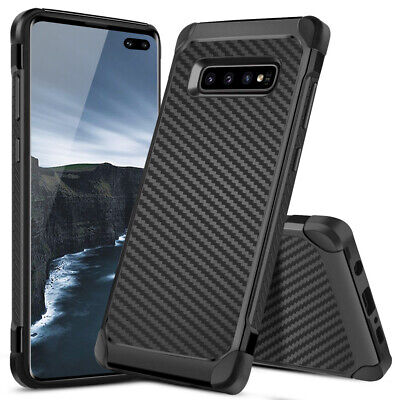 For Samsung Galaxy S10/Plus/S10e Black Carbon Fiber TPU Armor Hard Phone Case
