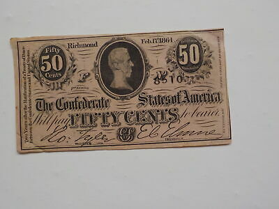Civil War Confederate 1864 50 Cents Note Richmond Virginia Currency Paper Money
