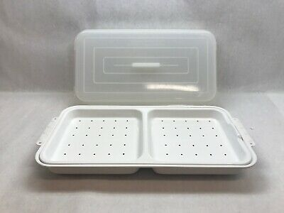 Vintage RONCO White STEAMER Heating TRAY Metal with Plastic LID 3 PIECES
