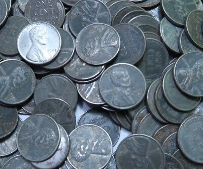 (50) 1943 P+D+S Steel Wheat Penny Roll - Avg. Circulated - 50 Coins