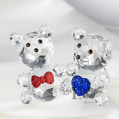Crystal Figurine Love Heart Bear Pair Lovely Teddy Glass Ornament Wedding Gift