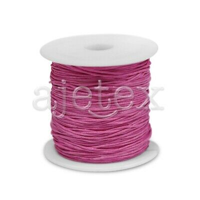 1 Roll 80M 0.8mm Waxed Cotton Cord Jewelry Craft Thread Beading Supply Rose Red