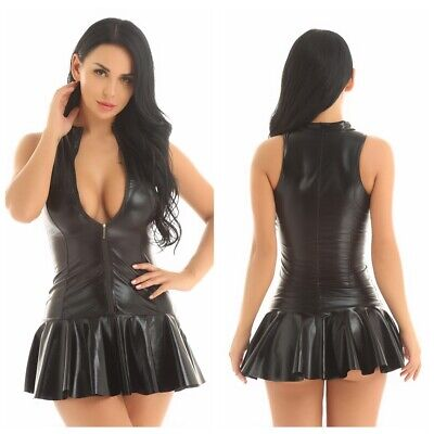 Plus S-4XL Sexy Women PU Leather Bodycon Party Short Mini Dress Gothic Clubwear