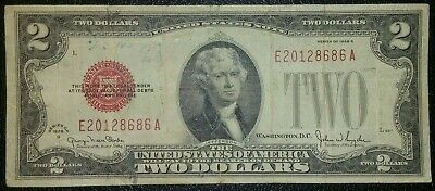 1928 Red Seal $2 Dollar Bill Old Us Note Legal Tender Paper Money