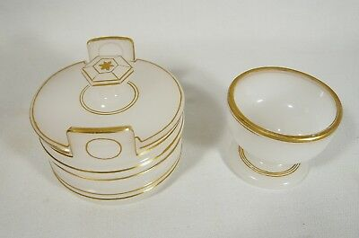 2 RARE Antique FRENCH OPALINE Glass Vanity Dresser Jars Napoleon III TRINKET BOX