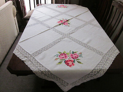 Beautiful Large Pink Roses Cross Stitch Linen Tablecloth With Lace Inserts