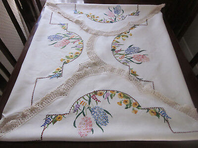 Gorgeous Large Hand Embroidered Pure Linen Tablecloth With Spring Flowers