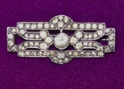 Beautiful,Vintage.Art Deco  Brooch-Rectangular,White Metal with Diamante stones
