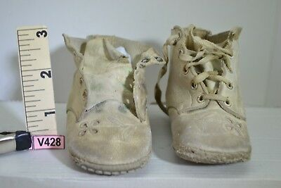 All Leather Baby Shoes With Tiny Flower Cutout  Vtg Well Over 90 Years Old V428
