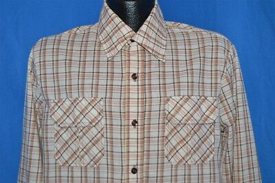 vintage 70s IMPACT CALIFORNIA BROWN TAN PLAID SQUARE BOTTOM MEN'S SHIRT LARGE L