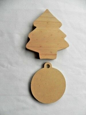 New Pack 2 Large Wooden Christmas DIY Decorations - Christmas Tree & Bauble