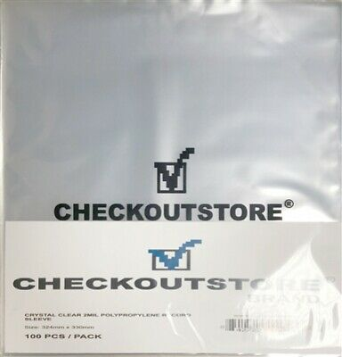 """100 COS Crystal Clear Plastic OPP for 12"""" Vinyl 33 RPM Records (Outer Sleeves)"""