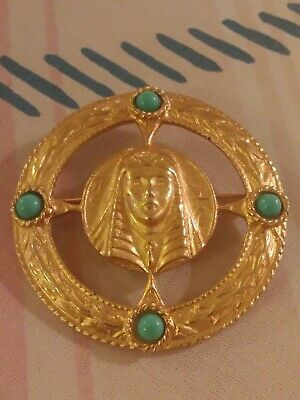 Vintage Second Egyptian Revival Sphinx Cleopatra Gold Turquoise Brooch RARE