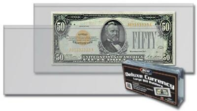 100 Soft Banknotes Sleeves Large Size US Currency Notes BCW Ultra Thin Holders