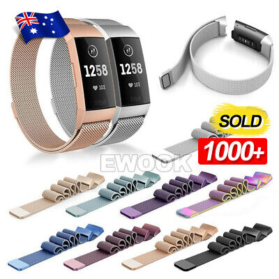 For Fitbit Charge 3 Band Metal Stainless Steel Milanese Loop Wristband Strap AU