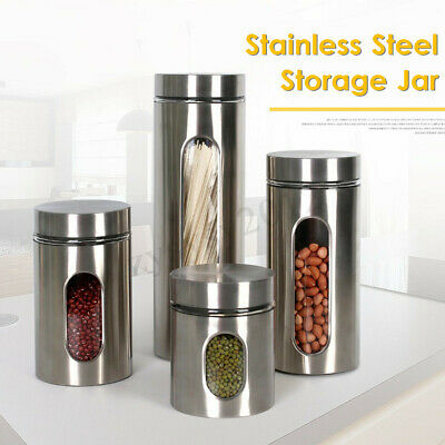 Stainless Steel Storage Jar Tea Coffee Sugar Kitchen Glass Canister Container UK
