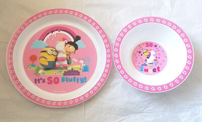 Girls Minions 2 Piece Micro Safe Plate and Bowl Mealtime Set 6 Mths + New