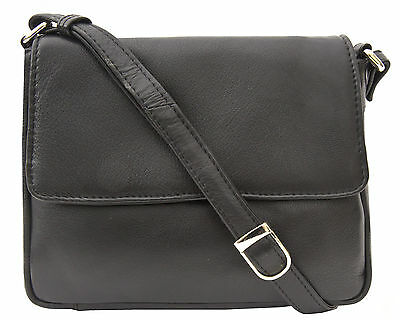 PrimeHide Ultra Soft Touch Small Black Leather Flapover Crossbody Bag - 640