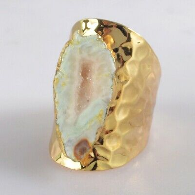 Size 7.5 Natural Agate Druzy Geode Ring Gold Plated H130867