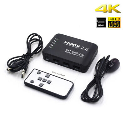 AYS-51V20 HDMI Switcher 5 x 1 with IR Remote Support 4K Splitter For HD TV's