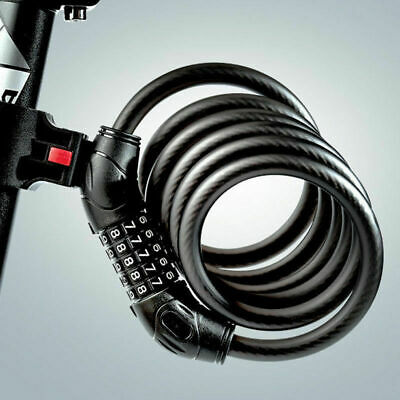 5 Resettable Digit Combination Bike Lock Bicycle Spiral Steel Cable Lock 120cm