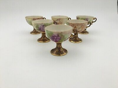 Six (6) Handpainted Grapes Footed Punch Cups, Artist signed