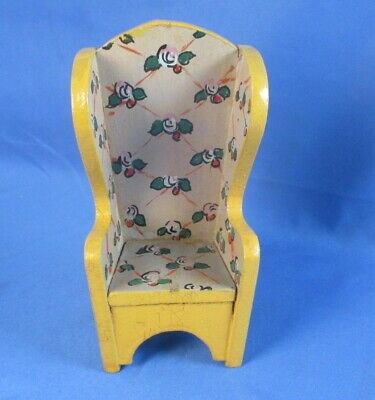Unsigned Hand Painted Wing Chair Dollhouse Miniature Furniture Vintage Tynietoy