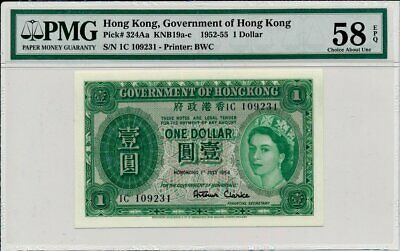 Government of Hong Kong Hong Kong  $1 1954 Rare date PMG  58EPQ