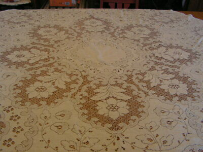 Vintage Lace Tablecloth White Lace Flowers Daisy Daisies Lace Tablecloth Oval