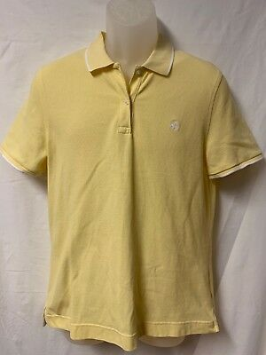 Women Brooks Brothers Yellow White Polo Short Sleeve Shirt Size L Large  Cotton dfe8b4560