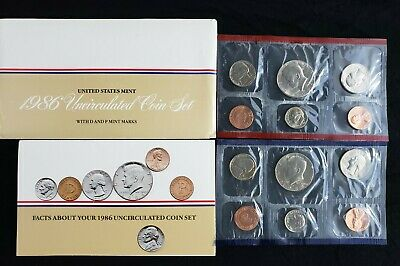 1986 US P&D Mint Set 10 CoinsWith Original Government Packaging