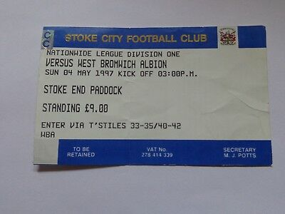 STOKE CITY v WEST BROMWICH ALBION LAST MATCH at VICTORIA GROUND 1996/7 Ticket