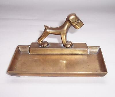 ORIGINAL Vintage 1930s ART DECO Brass TERRIER DOG TRINKET/Keepsake DISH