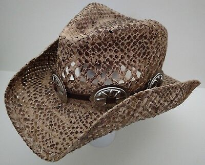 a967a23ec25 HATBAND LATIGO LEATHER 5 Silver Conchos CHOCOLATE BROWN Cowboy Western HAT  BAND