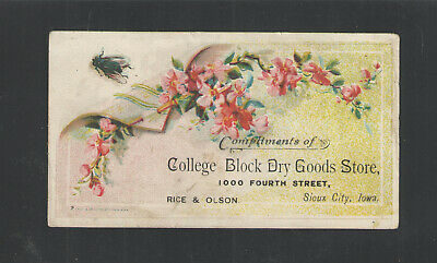 1880s COLLEGE BLOCK DRY GOODS STORE SIOUX CITY IOWA VICTORIAN TRADE CARD