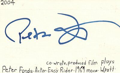 Peter Fonda Actor Producer Wyatt In Easy Rider Movie Signed Index Card Jsa Coa Autographs-original
