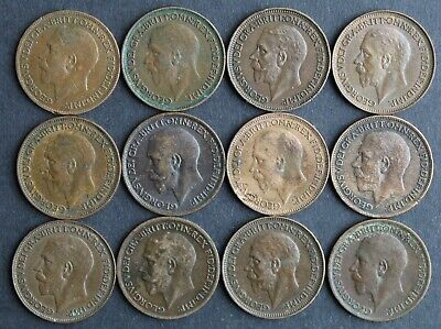 Job Lot of 12 Vintage/Antique Farthings - King George V 1912 - 1936.