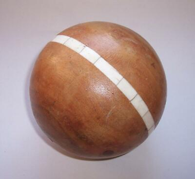 Vintage LARGE WOODEN Decorative BALL/Sphere With Inlaid Bovine Bone Home Display