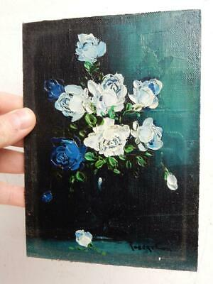 vintage old PAINTING oil BLUE FLOWERS signed  ROBERT COX