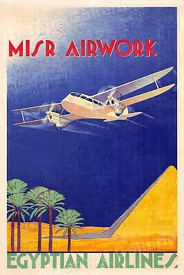 Egypt Airlines 1935 MISR Airwork Vintage Style Travel Poster - 16x24