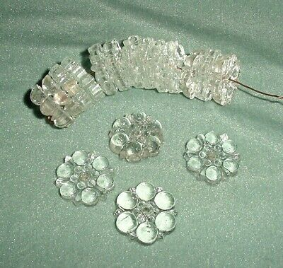 Old Lot 17 Pcs Crystal Glass Flowers Chandelier Spare Parts