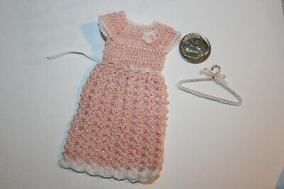 Miniature Dollhouse Fine Hand Crochet Knit Pink Dress Doll Can
