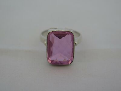 Vintage Sterling Silver Size 9 Large Pink Stone Ring