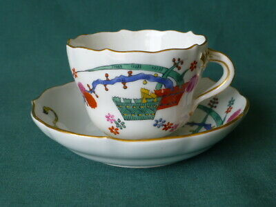 Antique Hand Painted Meissen Cup and Saucer With a Lion