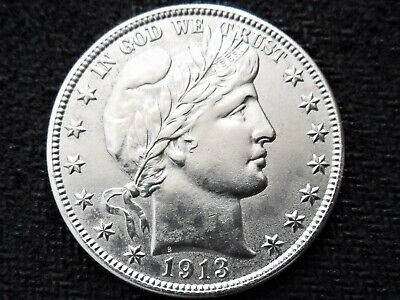 A Lovely UNC 1913 S Better Date Silver Barber Half Dollar!!
