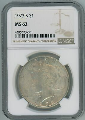 1923 S NGC MS62 Peace Silver Dollar $1 US Mint Better Date 1923-S NGC MS-62