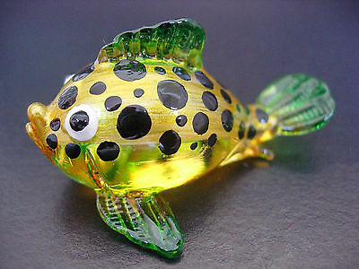 Curio Glass PUFFER CAT FISH Golden Glass Fish Figure Glass Ornament Animal Gift