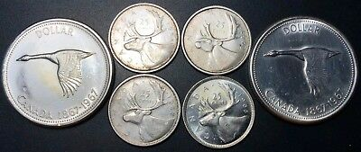 Lot of 6 Canada Silver 25 Cents & $1 Dollar Coins - 1954, 1957, 1959, 1965, 1967